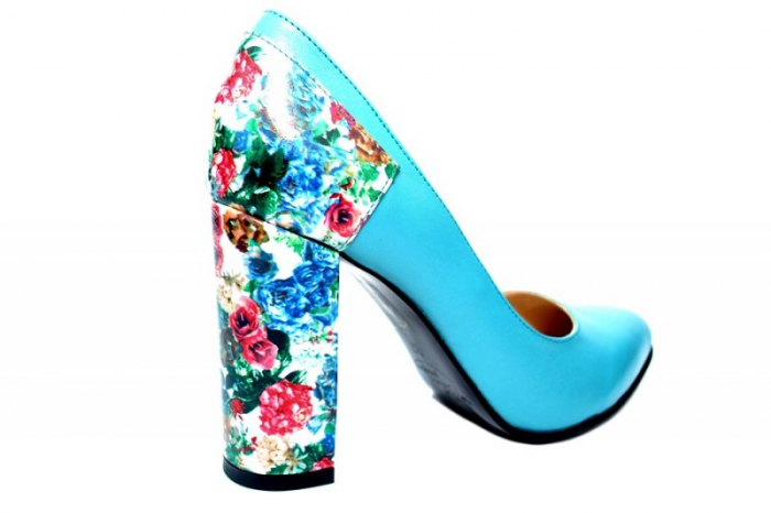 Pantofi cu toc Piele Naturala Turqouise Moda Prosper Melisandre D01822 2