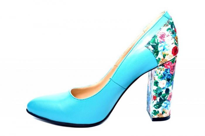 Pantofi cu toc Piele Naturala Turqouise Moda Prosper Melisandre D01822 1