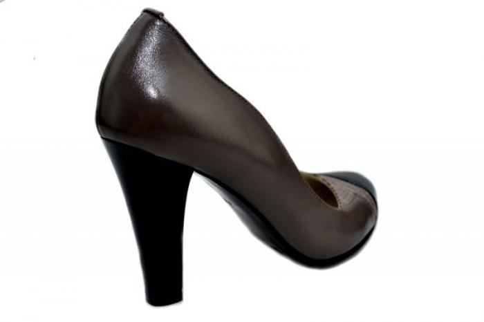 Pantofi cu toc Piele Naturala Gri Moda Prosper Carina D01351 [3]