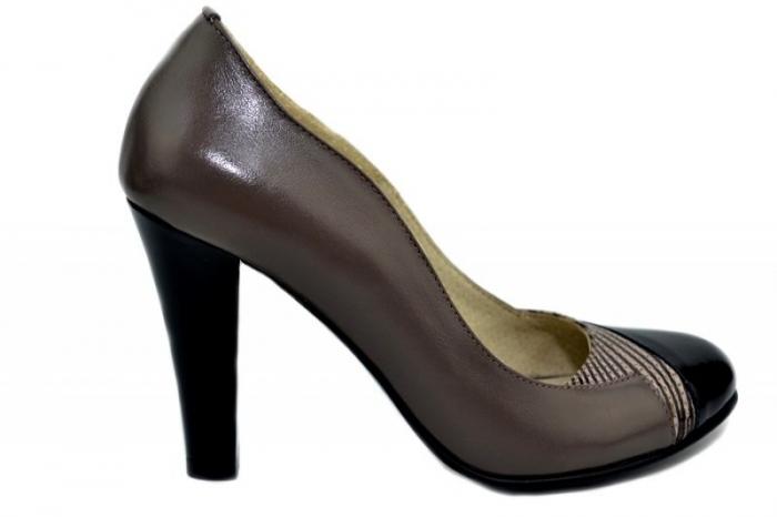 Pantofi cu toc Piele Naturala Gri Moda Prosper Carina D01351 [0]
