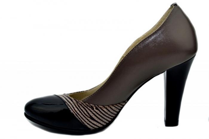 Pantofi cu toc Piele Naturala Gri Moda Prosper Carina D01351 [1]