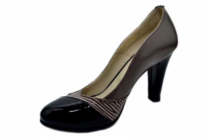 Pantofi cu toc Piele Naturala Gri Moda Prosper Carina D01351 [2]