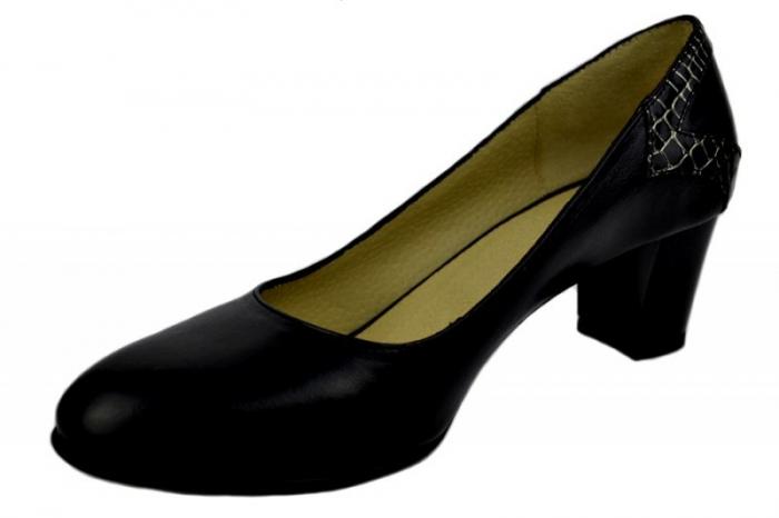 Pantofi cu toc Piele Naturala Negri Moda Prosper Cosette D01369 2