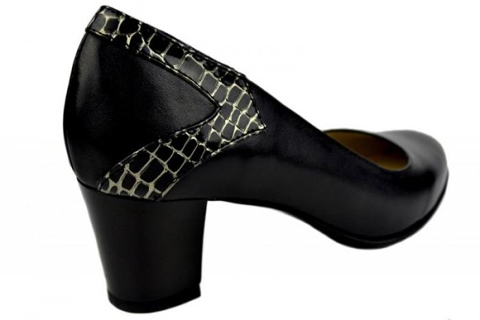 Pantofi cu toc Piele Naturala Negri Moda Prosper Cosette D01369 3