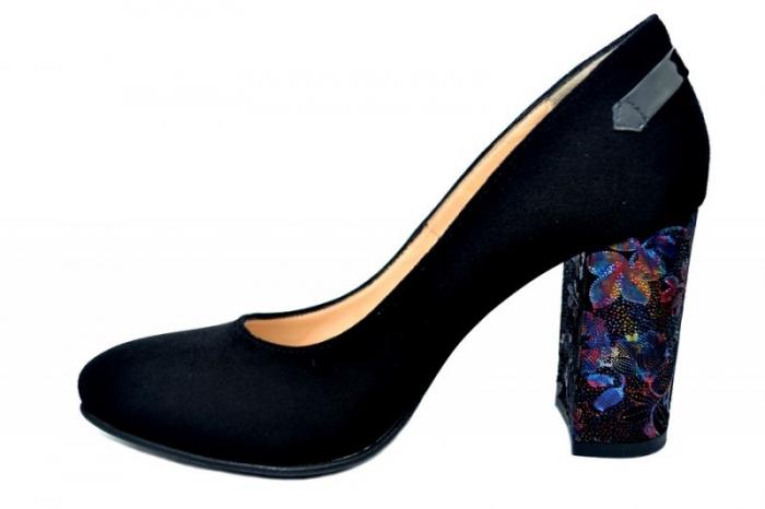 Pantofi cu toc Piele Naturala Negri Moda Prosper Moree D01738 1