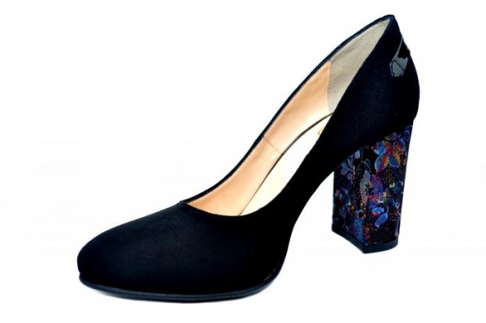 Pantofi cu toc Piele Naturala Negri Moda Prosper Moree D01738 2