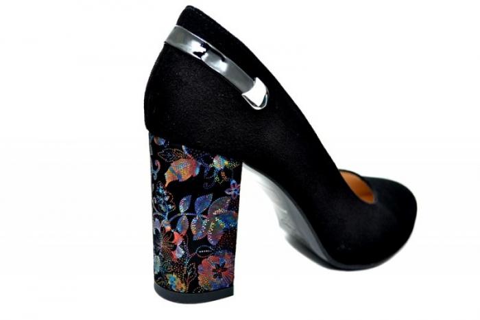 Pantofi cu toc Piele Naturala Negri Moda Prosper Moree D01738 3