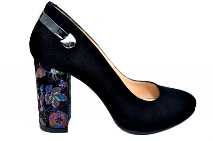 Pantofi cu toc Piele Naturala Negri Moda Prosper Moree D01738 0