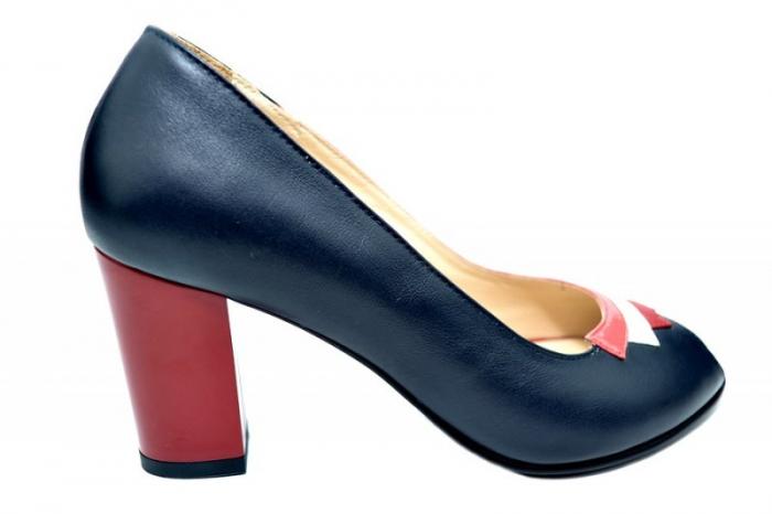 Pantofi cu toc Piele Naturala Bleumarin Nama D01741 [0]