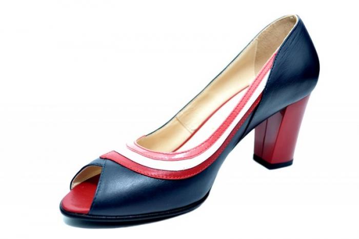 Pantofi cu toc Piele Naturala Bleumarin Nama D01741 [2]