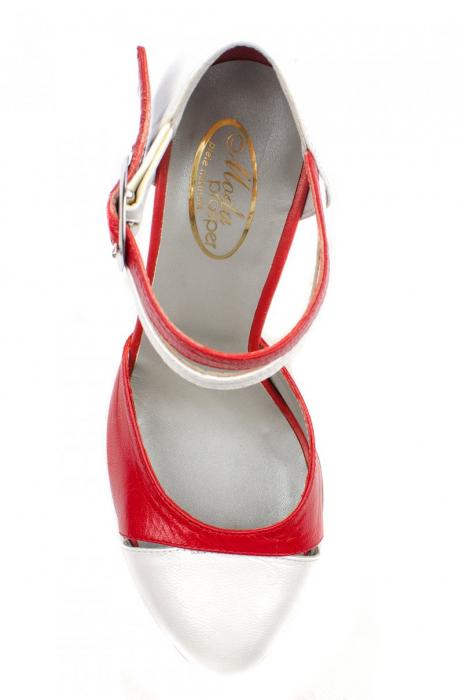 Pantofi Dama Piele Naturala Albi Lena D0013 2