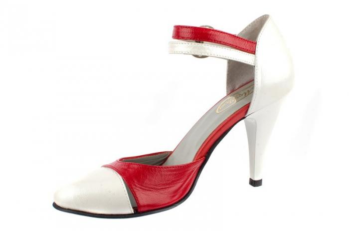 Pantofi Dama Piele Naturala Albi Lena D0013 1