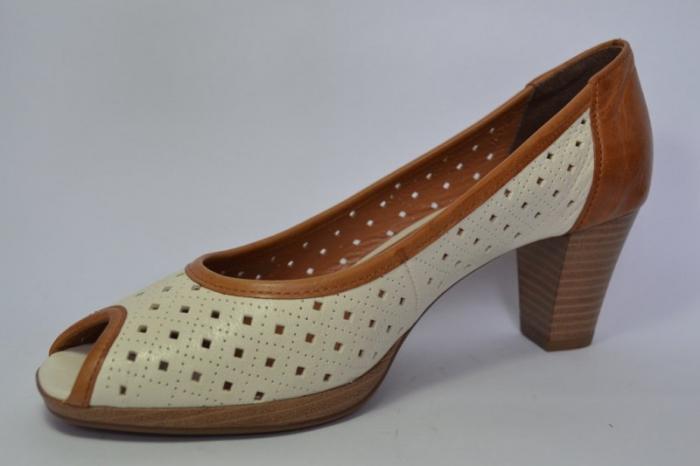 Pantofi cu toc Piele Naturala Bej Relia D00459 2