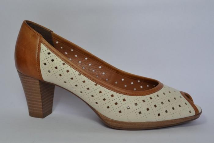 Pantofi cu toc Piele Naturala Bej Relia D00459 0