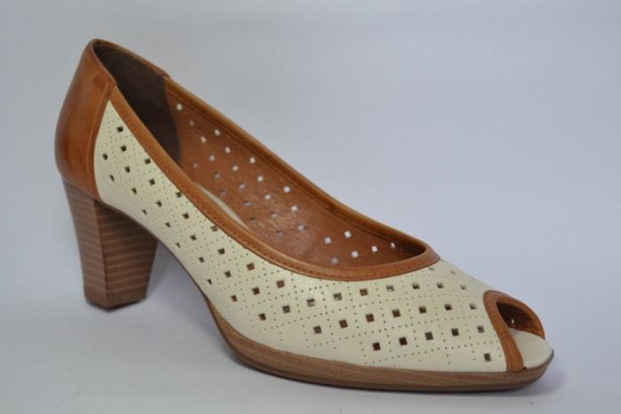 Pantofi cu toc Piele Naturala Bej Relia D00459 3