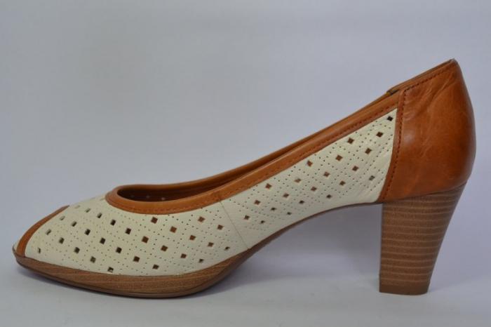 Pantofi cu toc Piele Naturala Bej Relia D00459 1