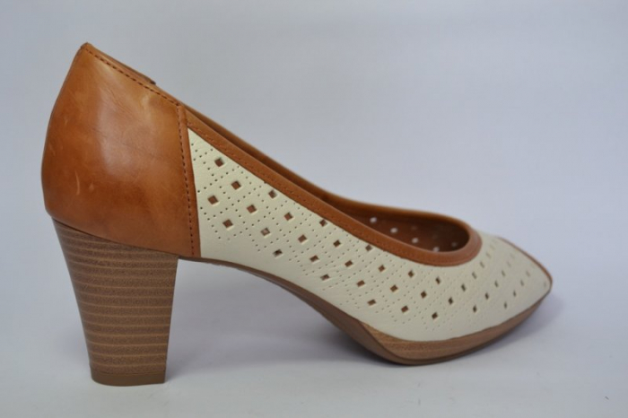 Pantofi cu toc Piele Naturala Bej Relia D00459 4