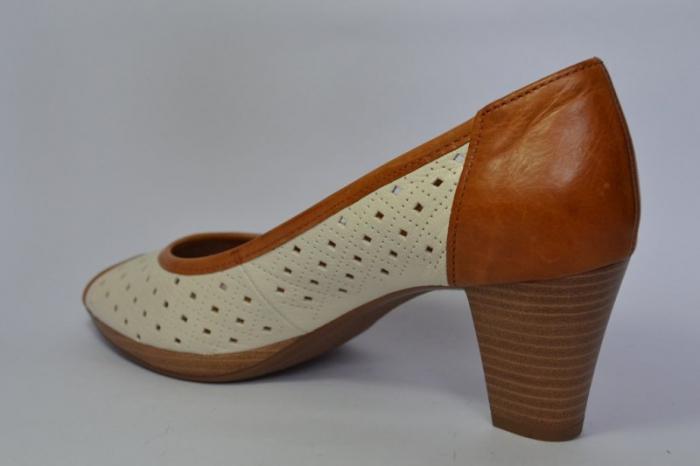 Pantofi cu toc Piele Naturala Bej Relia D00459 5