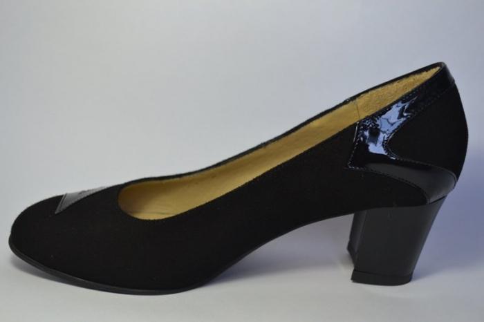 Pantofi cu toc Piele Naturala Negri Veli D00497 1