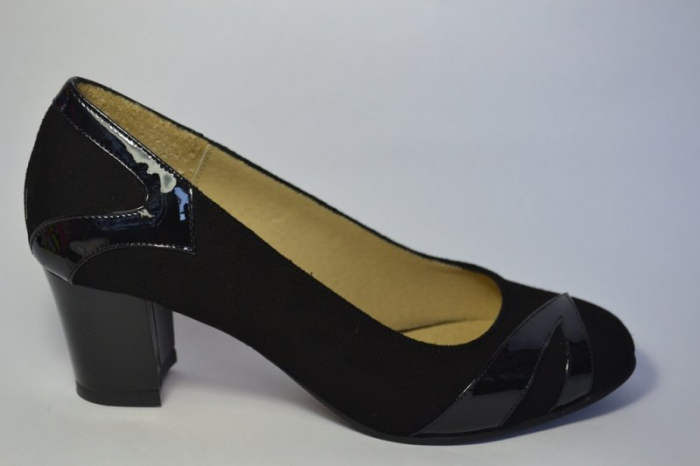 Pantofi cu toc Piele Naturala Negri Veli D00497 0