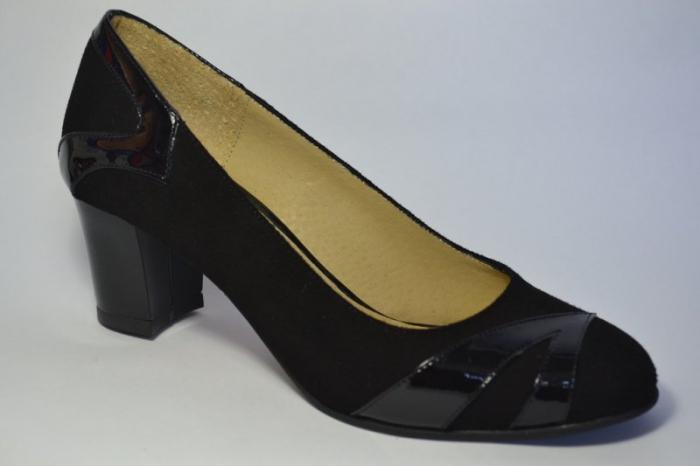 Pantofi cu toc Piele Naturala Negri Veli D00497 4