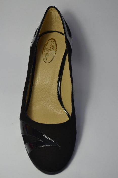 Pantofi cu toc Piele Naturala Negri Veli D00497 2