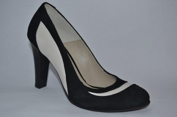 Pantofi cu toc Piele Naturala Negri Vela D00614 [3]