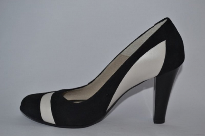 Pantofi cu toc Piele Naturala Negri Vela D00614 [1]