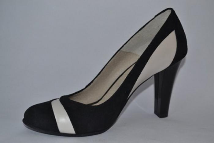 Pantofi cu toc Piele Naturala Negri Vela D00614 [2]