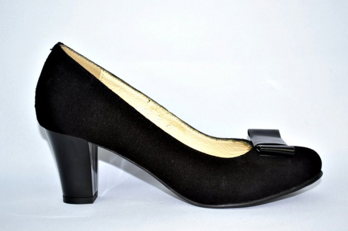 Pantofi cu toc Piele Naturala Negri Rela D00893 0