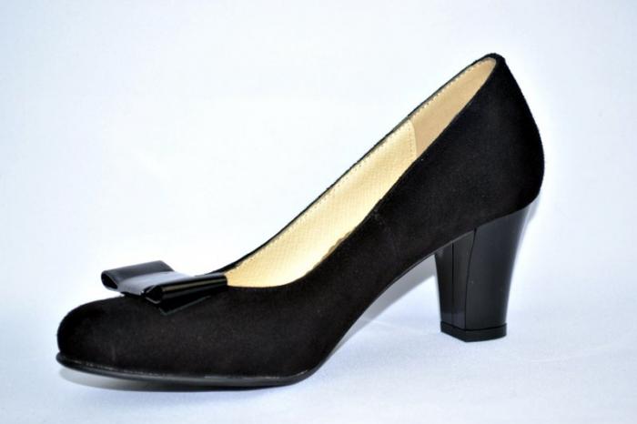 Pantofi cu toc Piele Naturala Negri Rela D00893 2