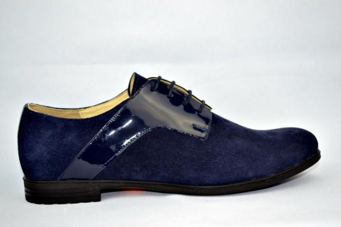 Pantofi Oxford Piele Naturala Bleumarin Viki D00897 0