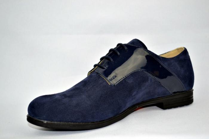 Pantofi Oxford Piele Naturala Bleumarin Viki D00897 2