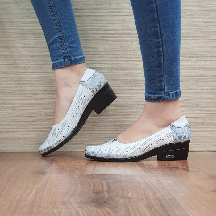 Pantofi cu toc Piele Naturala Albi Catalina D02463 [1]