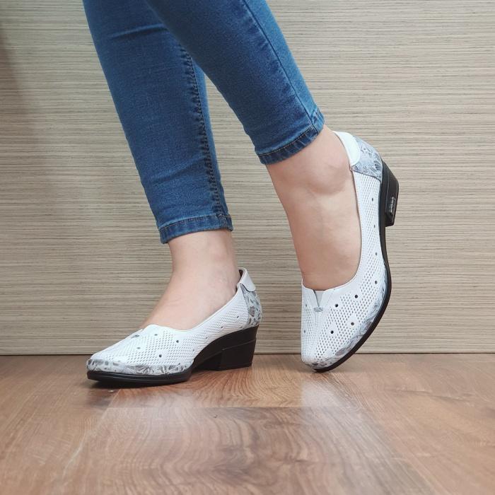 Pantofi cu toc Piele Naturala Albi Catalina D02463 [2]