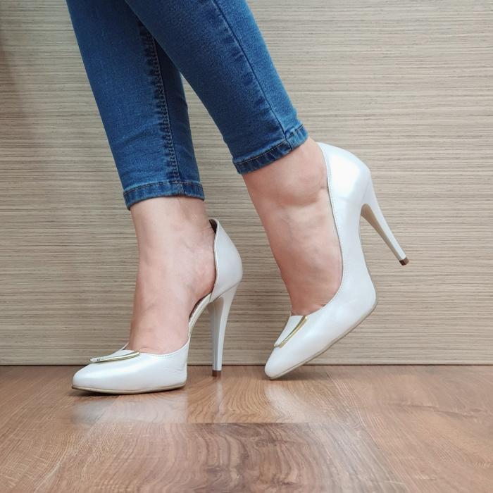 Pantofi cu toc Piele Naturala Albi Letitia D02396 2