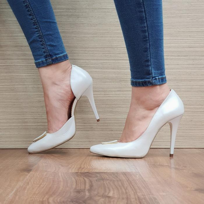 Pantofi cu toc Piele Naturala Albi Letitia D02396 1