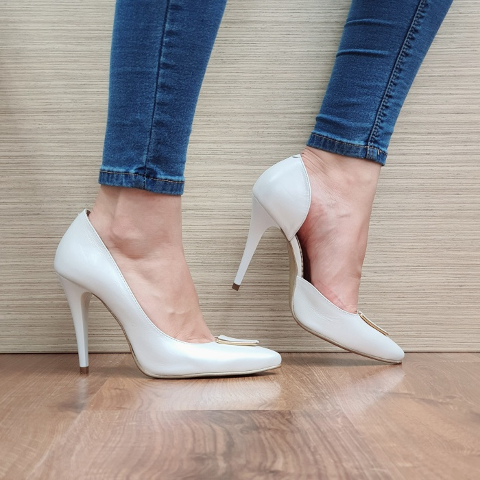 Pantofi cu toc Piele Naturala Albi Letitia D02396 0