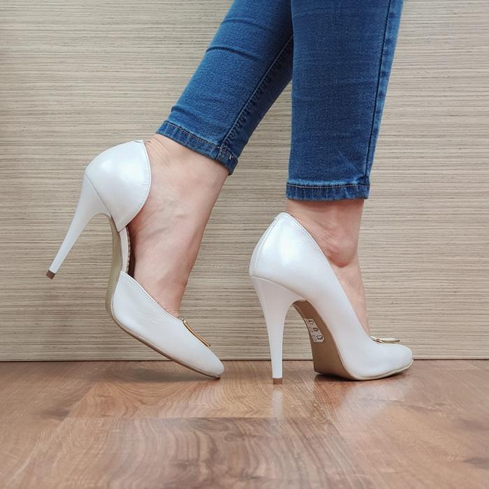 Pantofi cu toc Piele Naturala Albi Letitia D02396 3