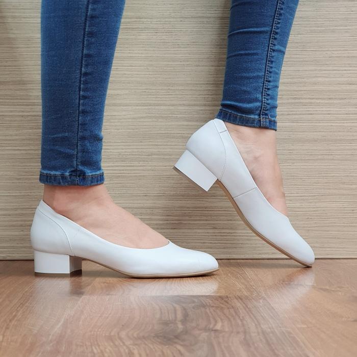 Pantofi cu toc Piele Naturala Albi Medina D02511 0
