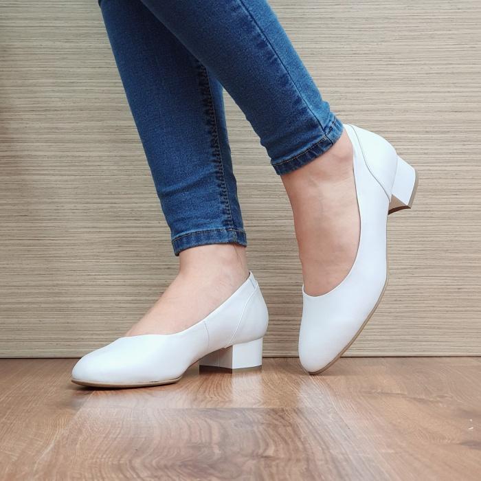 Pantofi cu toc Piele Naturala Albi Medina D02511 2