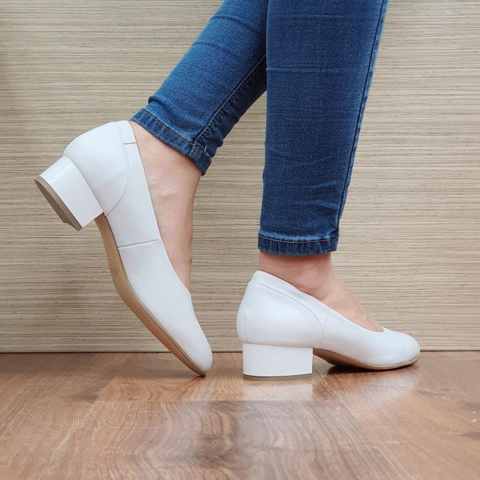 Pantofi cu toc Piele Naturala Albi Medina D02511 3