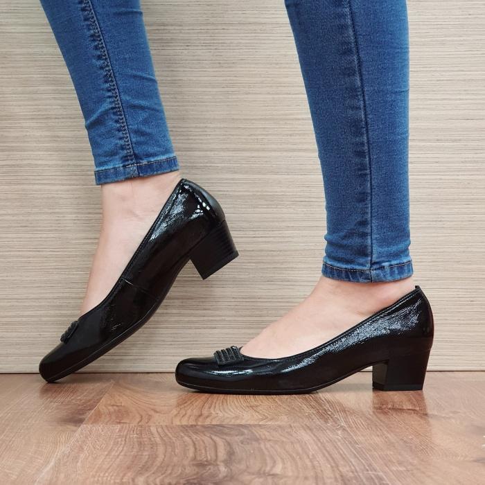 Pantofi cu toc Piele Naturala Ara Negri Agnia D02509 1