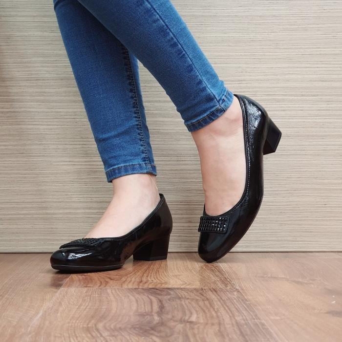 Pantofi cu toc Piele Naturala Ara Negri Agnia D02509 2
