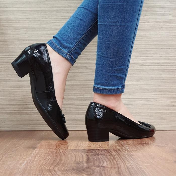 Pantofi cu toc Piele Naturala Ara Negri Agnia D02509 3