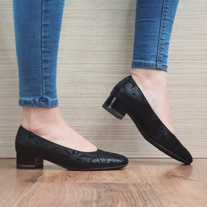 Pantofi cu toc Piele Naturala Ara Negri Linsdey D02482 [0]