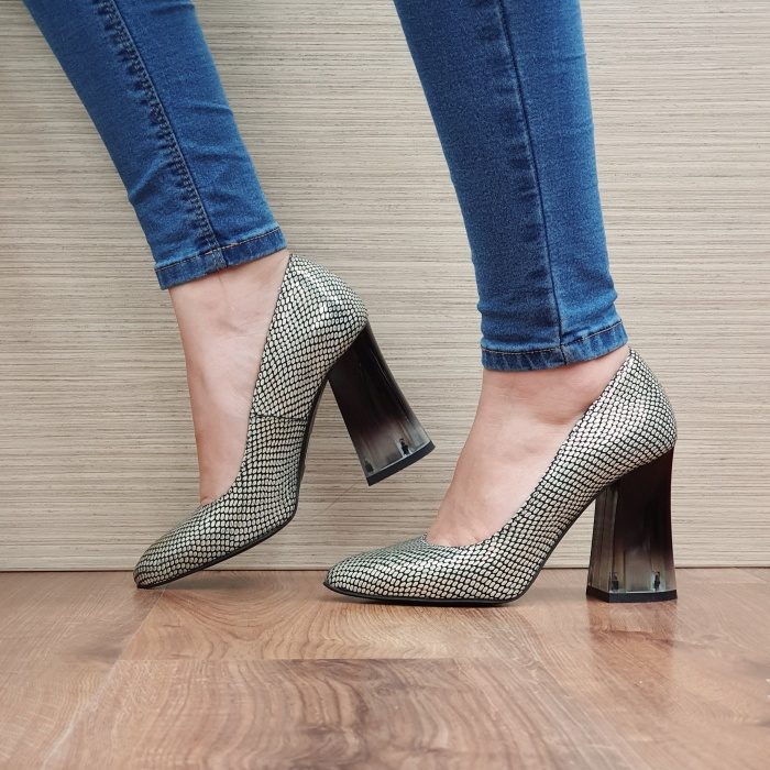 Pantofi cu toc Piele Naturala Aurii Megan D02507 1