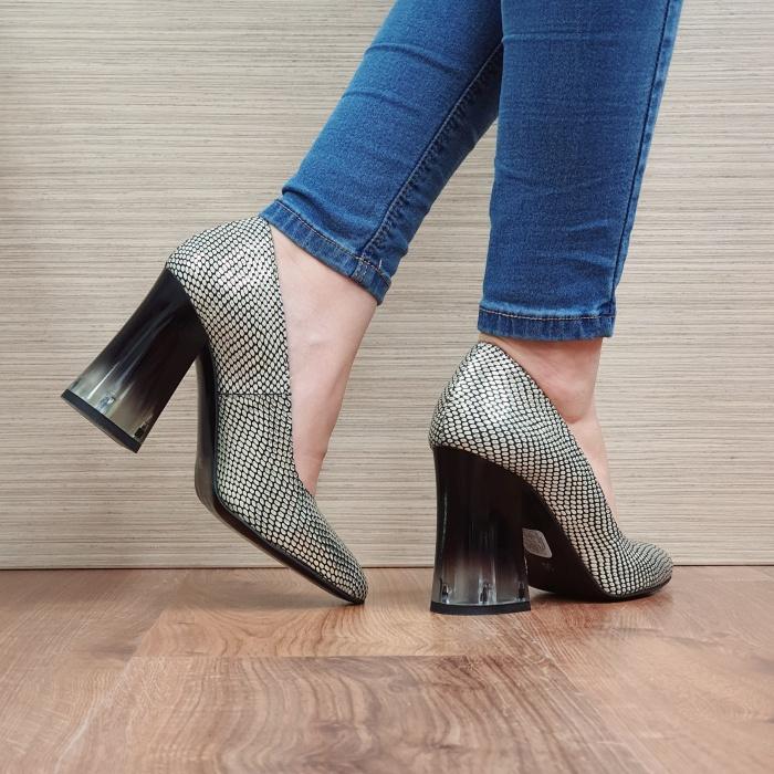 Pantofi cu toc Piele Naturala Aurii Megan D02507 3