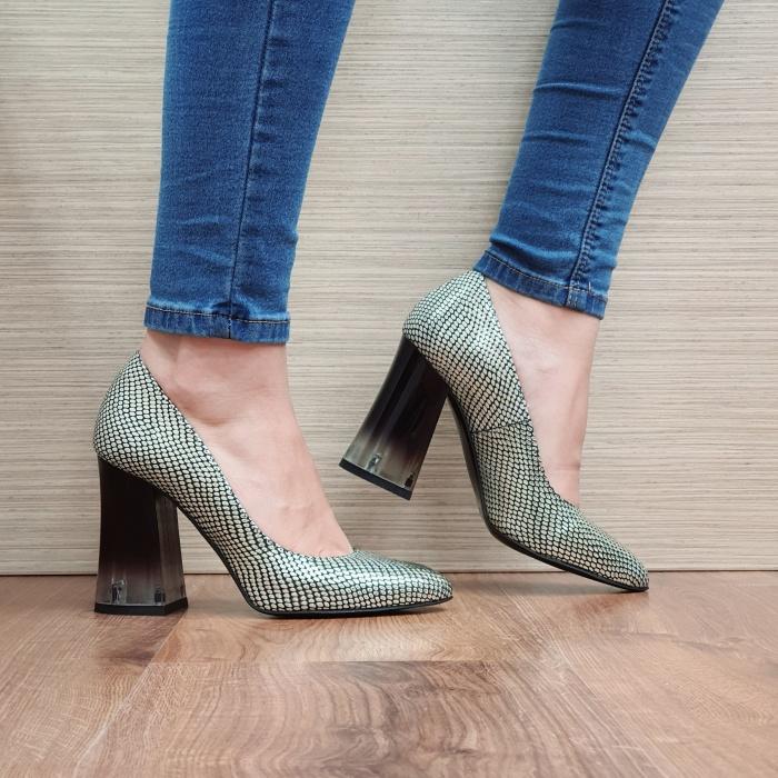 Pantofi cu toc Piele Naturala Aurii Megan D02507 0