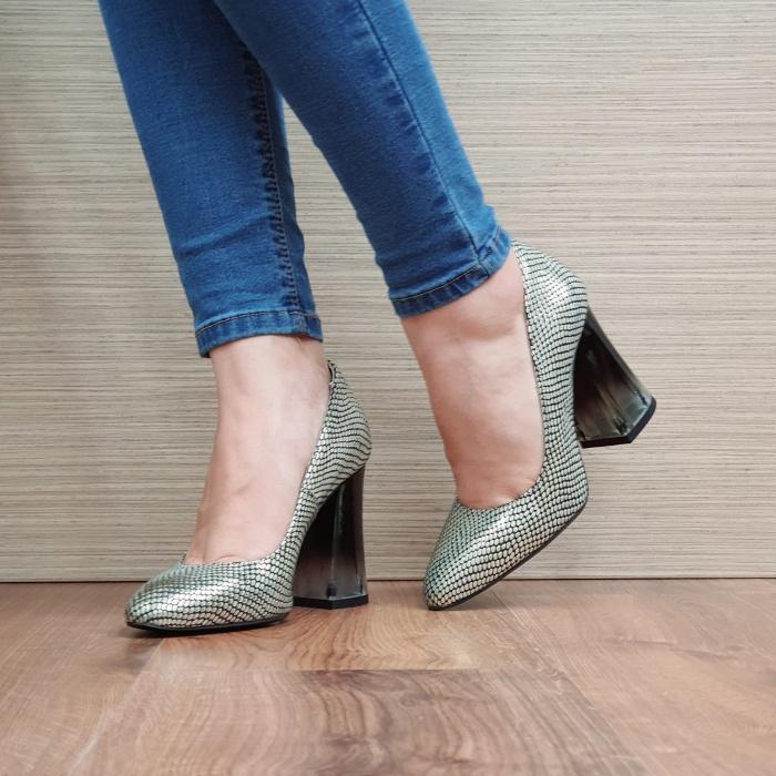 Pantofi cu toc Piele Naturala Aurii Megan D02507 2
